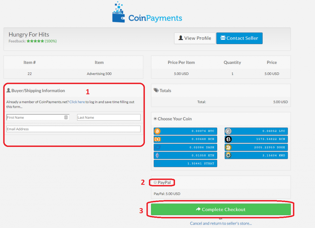 Make a purchase in Hungry For Hits with CoinPayments